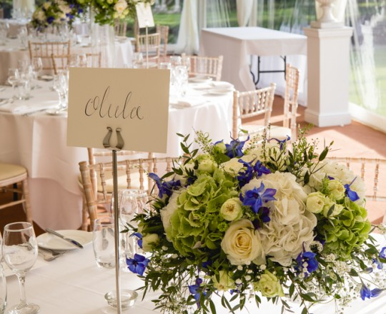 Joanna Carter wedding flowers, Ardington House, table centres