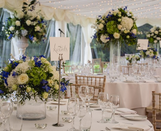 Joanna Carter wedding flowers Ardington House table centres