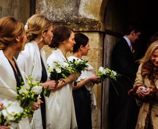Beautiful elegant orchid bridesmaids bouquet Ardington House Oxfordshire