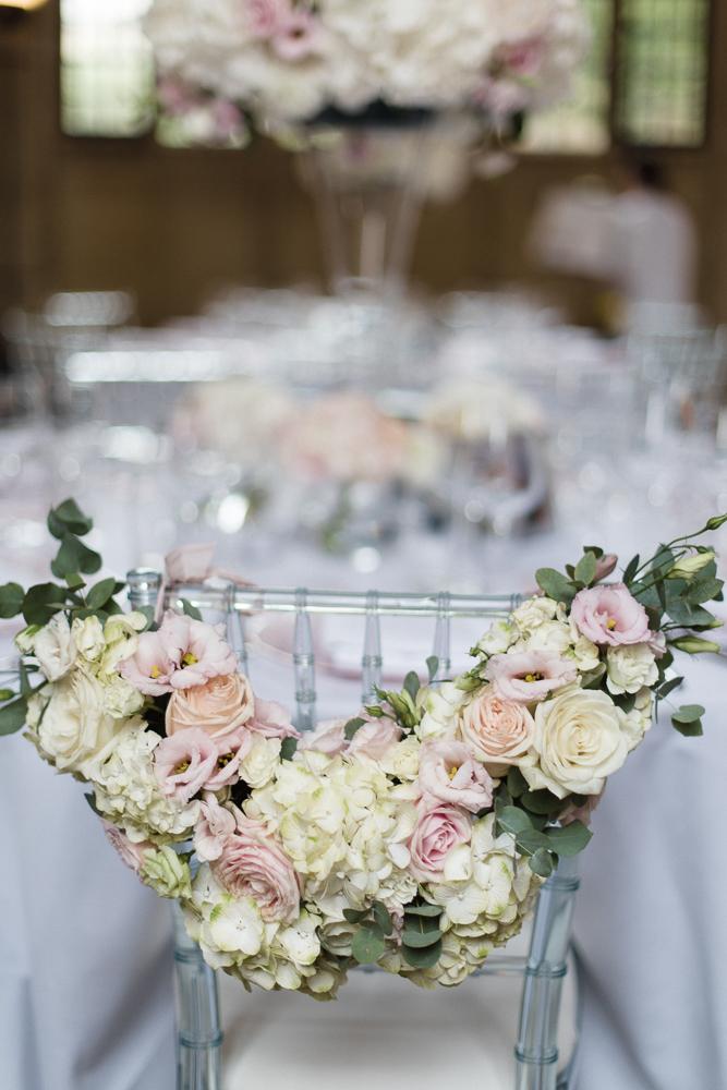 Oxford College Luxury Wedding Flowers chair back Joanna Carter Wedding Flowers Oxford Oxfordshire Buckinghamshire Berkshire Gloucestershire London