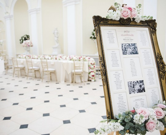Joanna Carter Wedding flowers, Blenheim Palace wedding, table plan