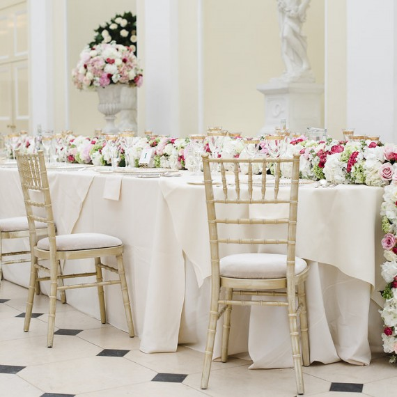 Hydrangea runner in the Orangery Blenheim Palace - Beautiful bespoke arrangements with gorgeous fabulous wedding flowers by Joanna Carter Wedding Flowers Oxford Oxfordshire Buckinghamshire Berkshire London