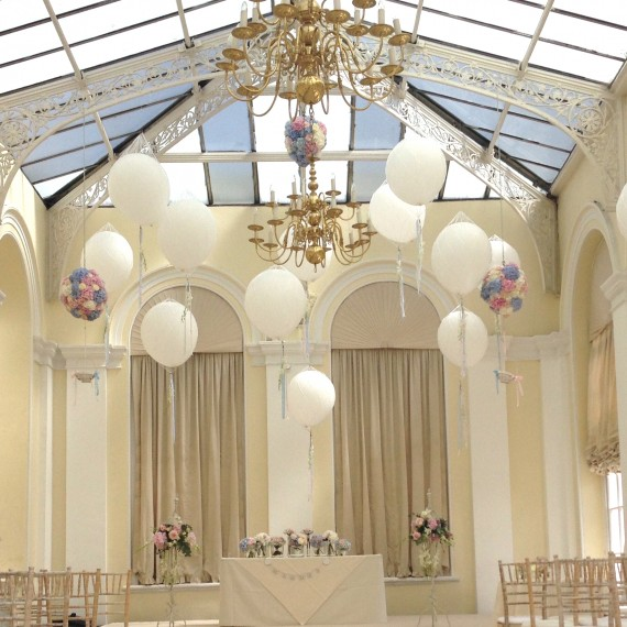 A balloon filled Orangery at Blenheim Palace - Beautiful bespoke arrangements with gorgeous / fabulous wedding flowers by Joanna Carter Wedding Flowers Oxford Oxfordshire Buckinghamshire Berkshire London