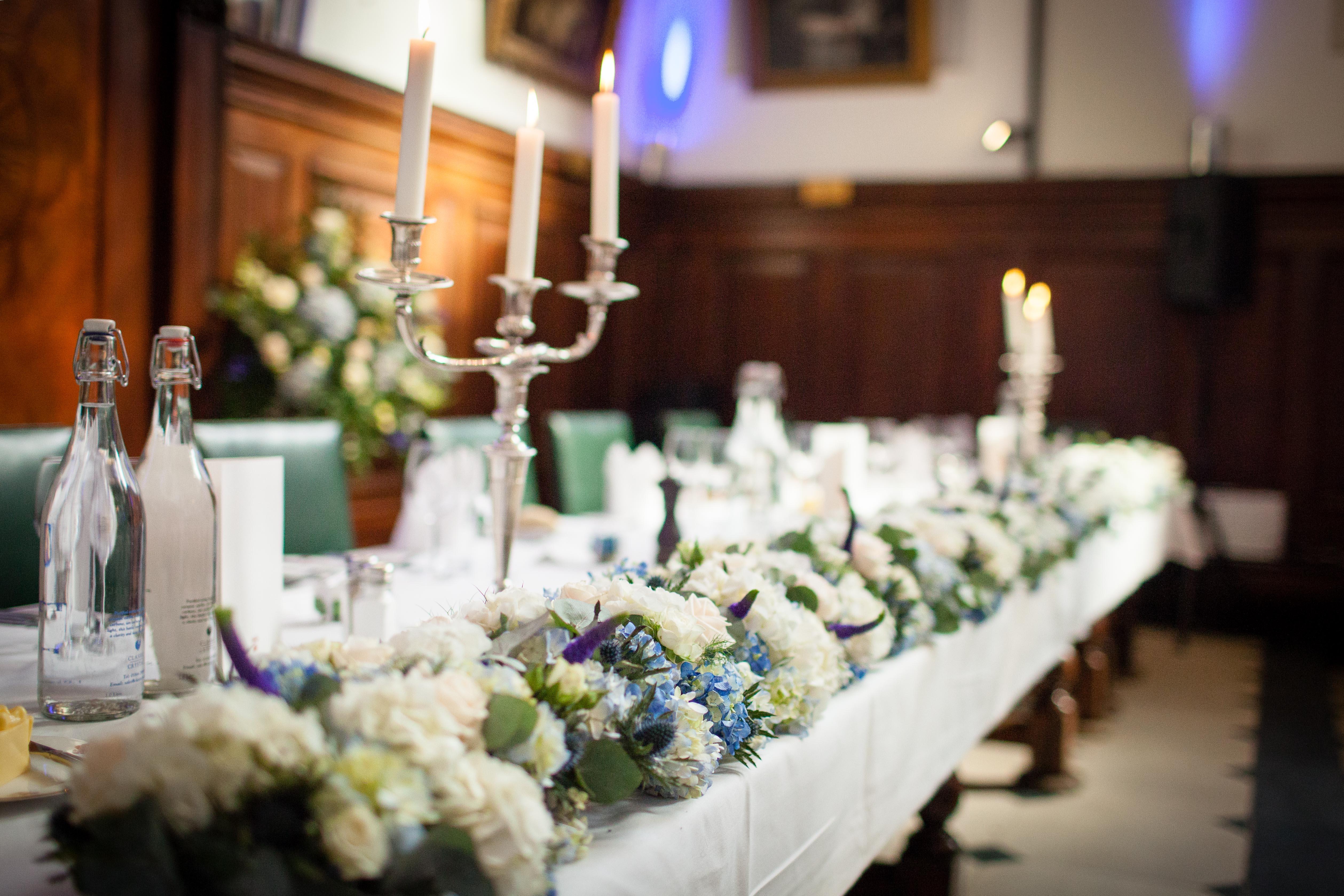 Wedding Flower Table Runner Queen's College Oxford Joanna Carter Wedding Flowers Oxford Oxfordshire Buckinghamshire Berkshire London