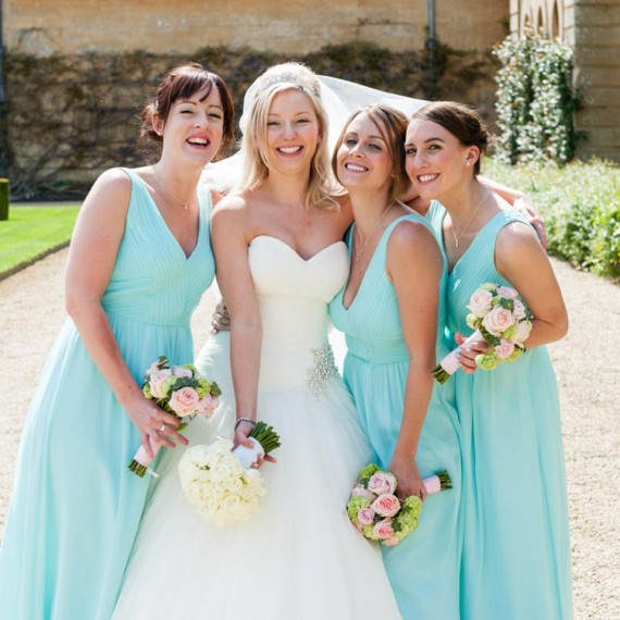 Bride and Bridesmaids outside the Orangery at Blenheim Palace, Oxfordshire