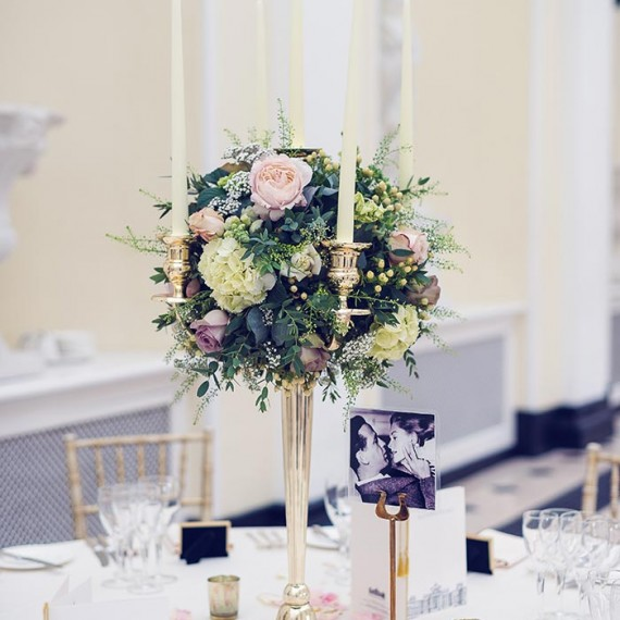 Candelabra, Blenheim Palace - Beautiful bespoke arrangements with gorgeous fabulous wedding flowers by Joanna Carter Wedding Flowers Oxford Oxfordshire Buckinghamshire Berkshire London
