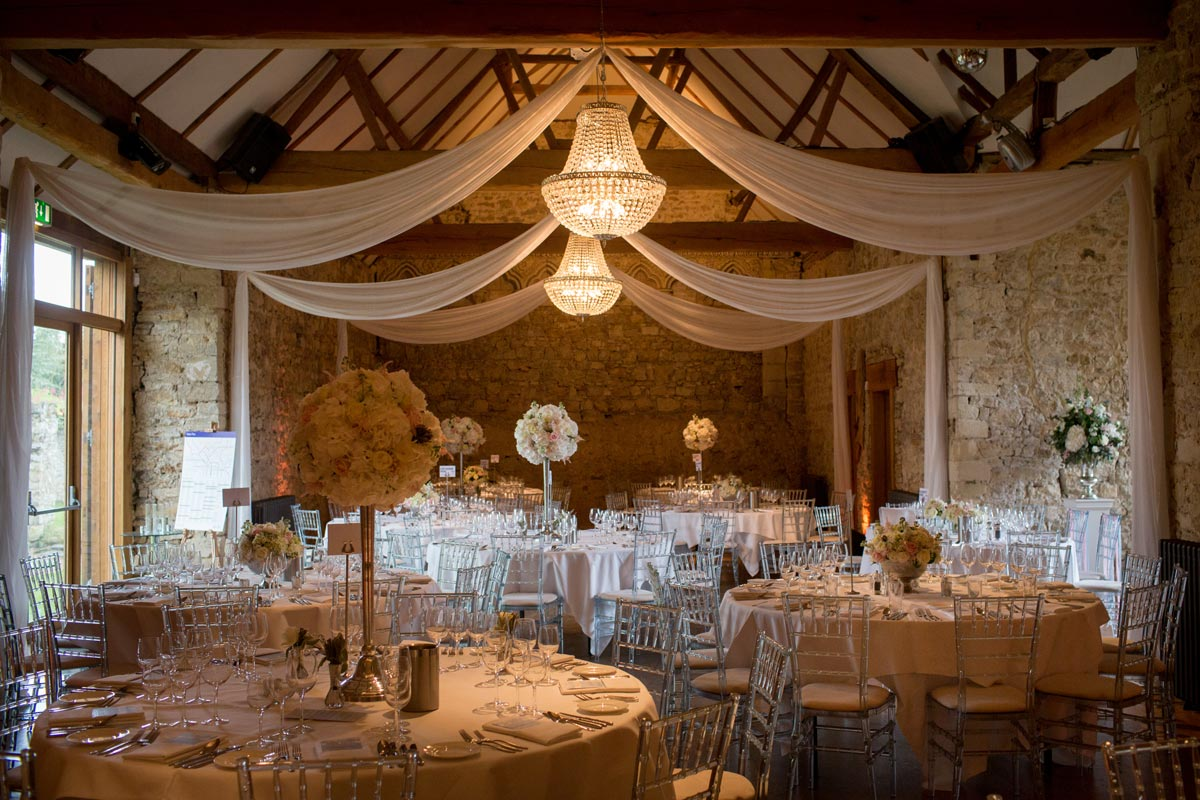 Wedding Table Centre Decorations – Candelabra and Rose Bowls at Notley Abbey, Buckinghamshire