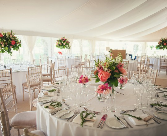 Marquee Reception Flowers, Joanna Carter Wedding Flowers, Oxfordshire, Buckinghamshire, Berkshire & London