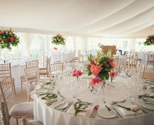 Marquee Reception Flowers, Joanna Carter Wedding Flowers, Oxfordshire, Buckinghamshire, Berkshire & London