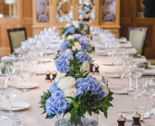 Fabulous table centres, Le Manoir, by Joanna Carter Wedding Flowers, Oxfordshire, Berkshire, Buckinghamshire and London