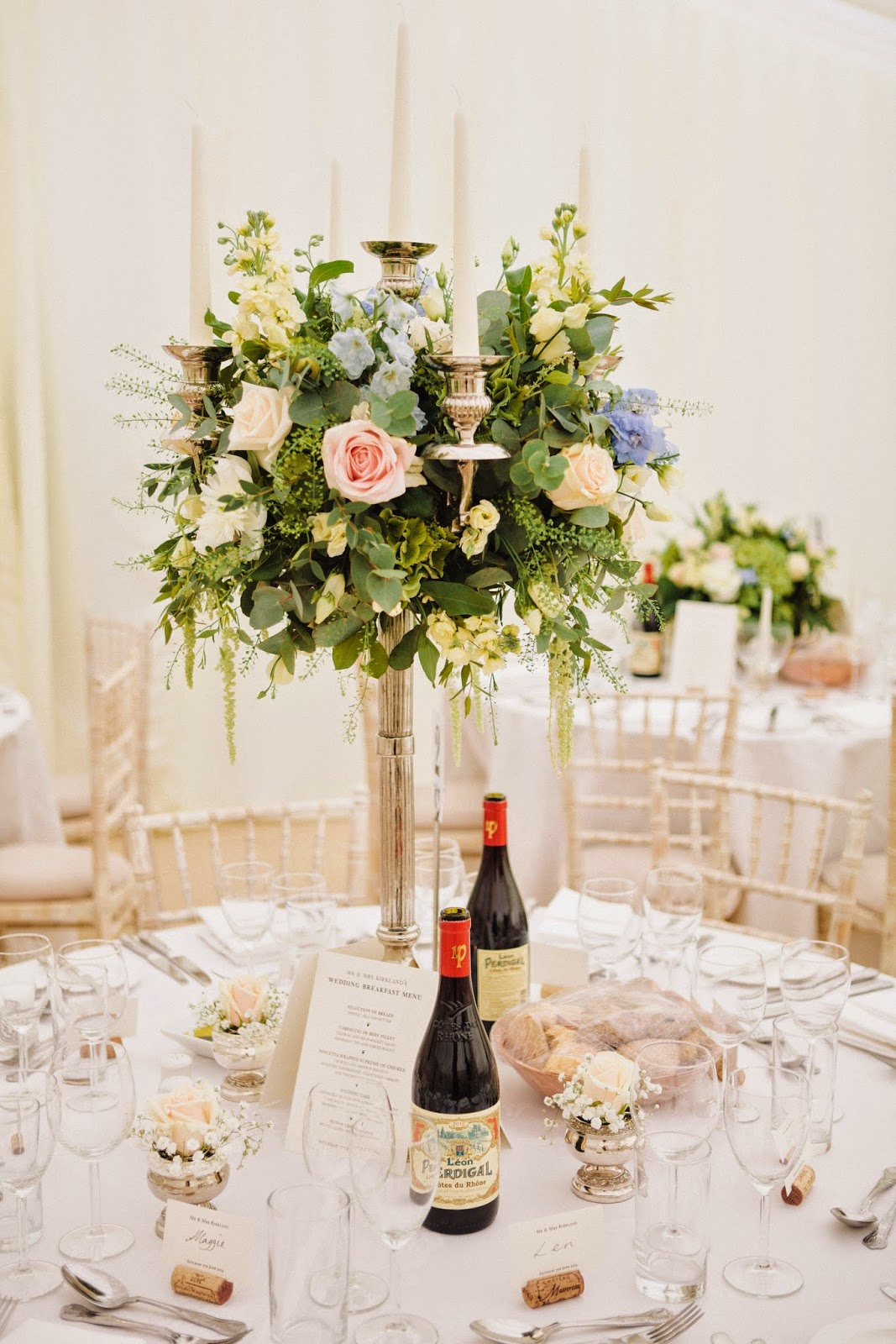 Reception Candelabra Flowers, Joanna Carter Wedding Flowers, Oxford, Oxfordshire, Buckinghamshire, Berkshire and London