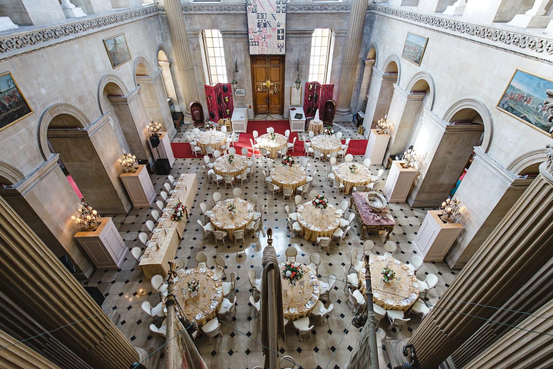 Wedding Breakfast, The Great Hall Blenheim Palace, Joanna Carter Wedding Flowers, Oxford, Oxfordshire, Buckinghamshire, Berkshire and London
