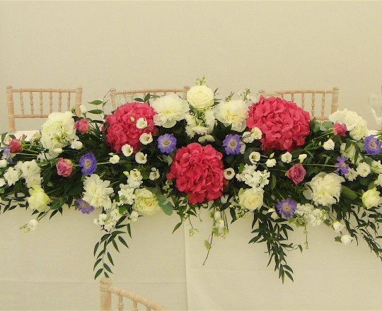 Fabulous Beautiful bespoke Top Table centre piece English Marquee wedding Joanna Carter Wedding flowers Oxford Oxfordshire Buckinghamshire Berkshire Surrey London