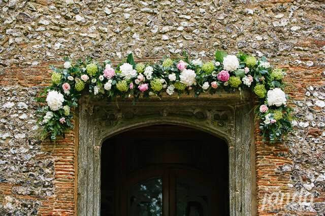 Church Entrance Swag, Joanna Carter Wedding Flowers, Oxford, Oxfordshire, Buckinghamshire, Berkshire & London