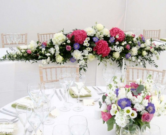 Marquee Top Table Arrangement - Beautiful bespoke elegant arrangements - gorgeous fabulous wedding flowers by Joanna Carter Wedding Flowers, Oxford, Oxfordshire, Buckinghamshire, Berkshire and London.