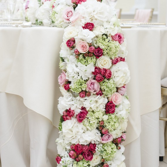 Top table runner in the Orangery at Blenheim Palace - Beautiful bespoke arrangements with gorgeous fabulous wedding flowers by Joanna Carter Wedding Flowers Oxford Oxfordshire Buckinghamshire Berkshire London