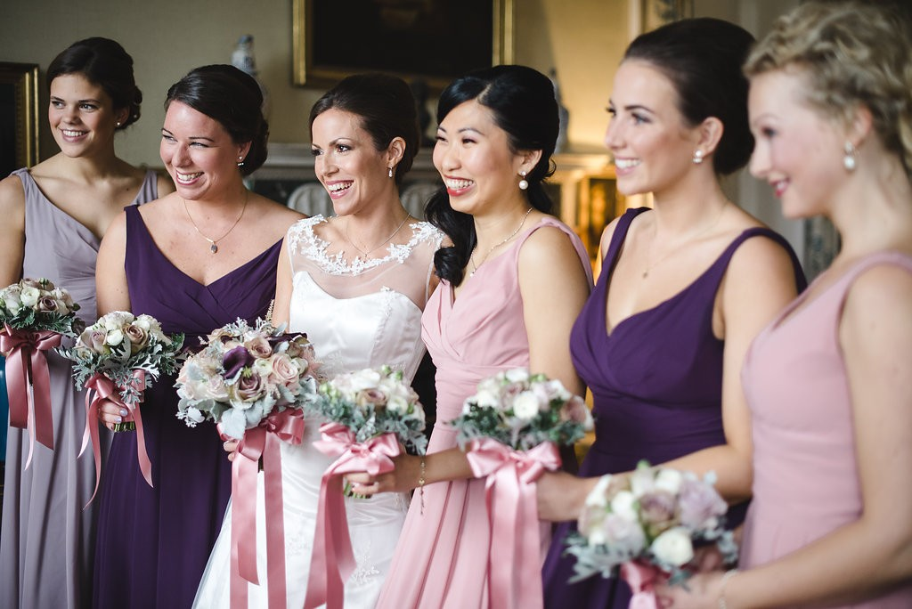 Bride and bridesmaids Bouquets Launton Tythe Barn Oxfordshire-244