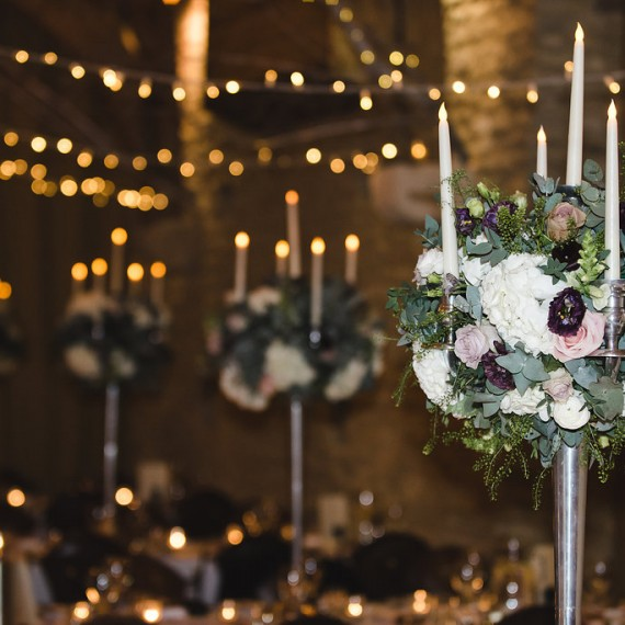 Beautiful Candelabra Flowers, Launton Tythe Barn, Joanna Carter Wedding Flowers, Oxford, Oxfordshire, Buckinghamshire, Berkshire and London