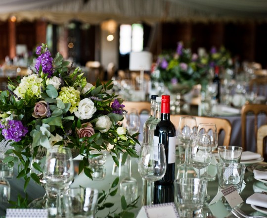 Joanna Carter wedding flowers, table centres, The Crazy Bear, Oxfordshire