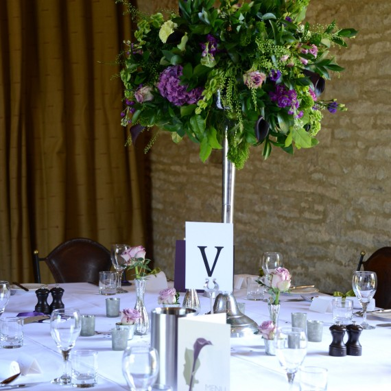 Table centre Candelabra flowers Tythe Barn Launton Joanna Carter Wedding Flowers Oxford Oxfordshire Berkshire Buckinghamshire Surrey London